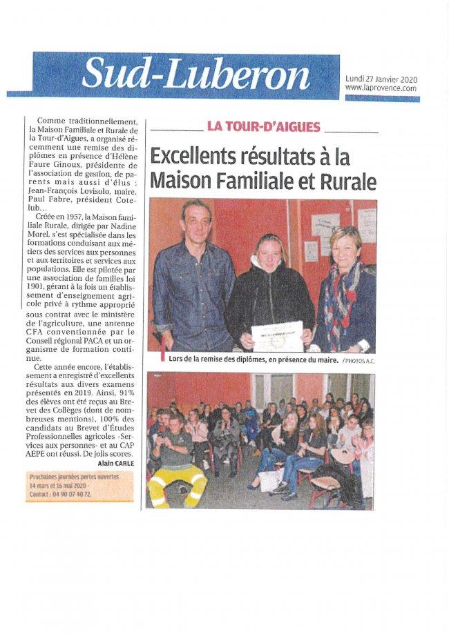 La MFR dans la Provence-janvier 2020