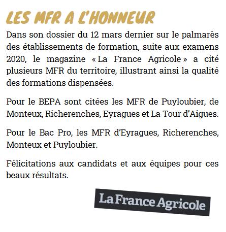 La MFR de La Tour-d'Aigues à l'honneur...