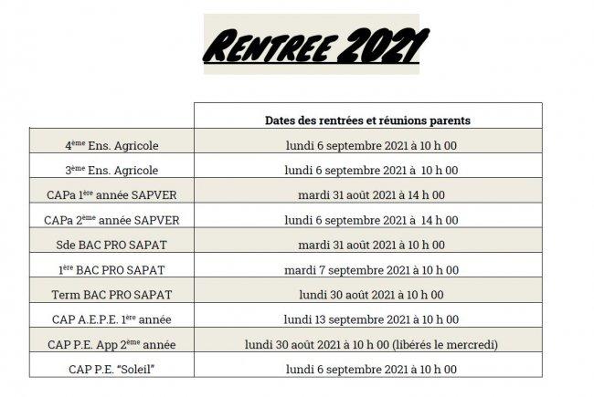 Dates de rentrée 2021-2022